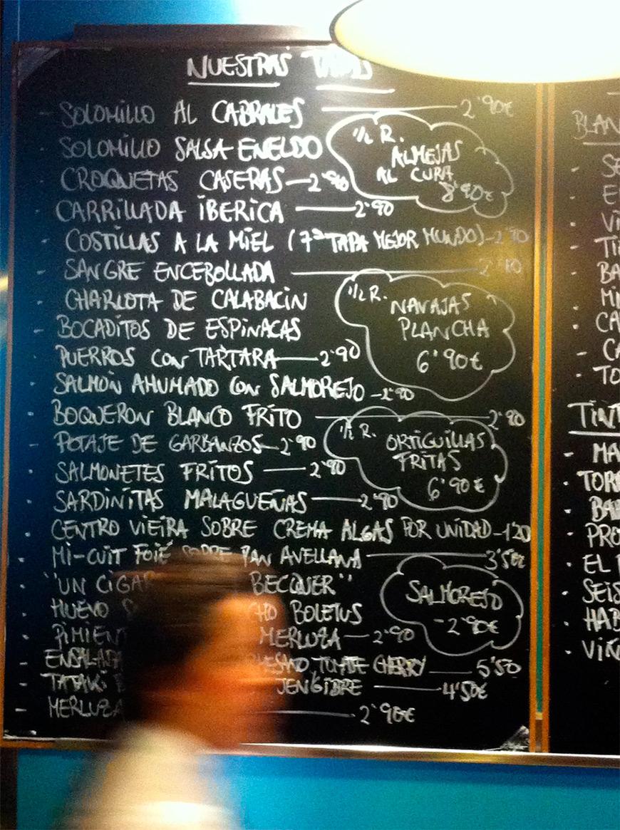 Carta restaurante Eslava Sevilla