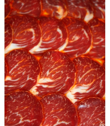 Sliced acorn-fed iberian lomito cured meat presa top-quality