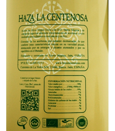 Etiqueta del Aceite de Oliva Virgen Extra Deshuesado Ecológico - Haza La Centenosa