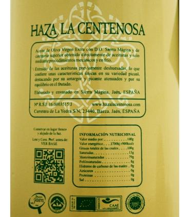 Etiquette de l'Huile d'olive Vierge Extra Bio Picual - Haza la Centenosa