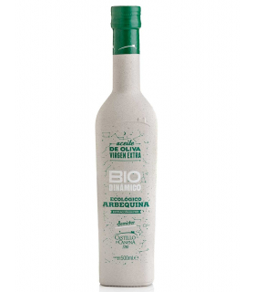 Label for AOVE Biodynamic Arbequina - Castillo de Canena