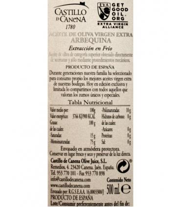 Label for Arbequina Extra Virgin Olive Oil - Castillo de Canena