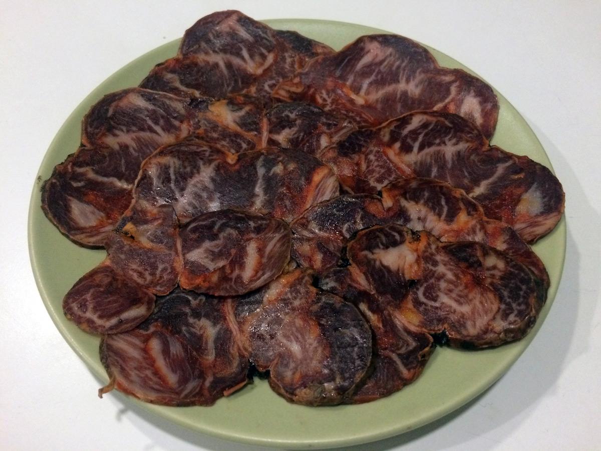 Assiette de charcuterie : Morcón ibérico