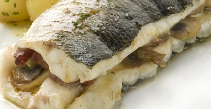 Baked stuffed sea bass