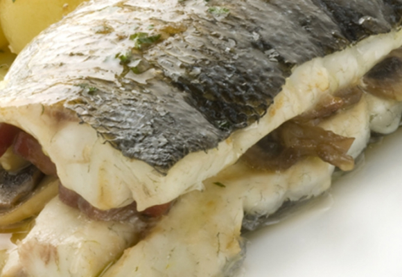 Baked stuffed sea bass